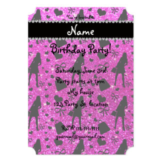Custom name neon pink glitter shopping 5x7 paper invitation card