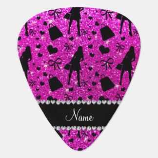 Custom name neon pink glitter shopping pick