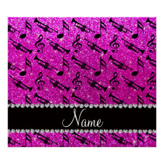 Custom name neon pink glitter trumpets music notes poster
