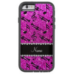Custom name neon pink glitter trumpets music notes tough xtreme iPhone 6 case