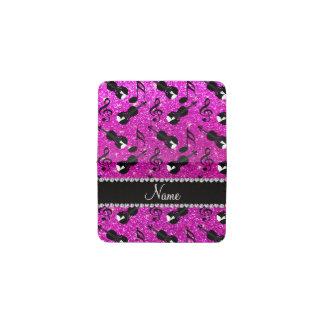 Custom name neon pink glitter violins music notes business card holder