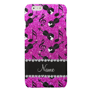 Custom name neon pink glitter violins music notes glossy iPhone 6 case