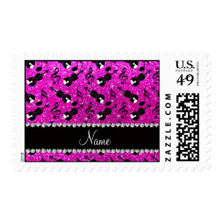 Custom name neon pink glitter violins music notes stamp