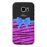 Custom name neon pink glitter zebra stripes bow samsung galaxy s6 cases