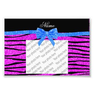 Custom name neon pink glitter zebra stripes bow photo print