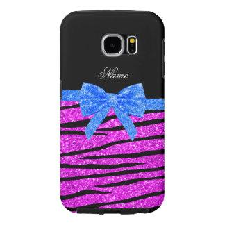 Custom name neon pink glitter zebra stripes bow samsung galaxy s6 case