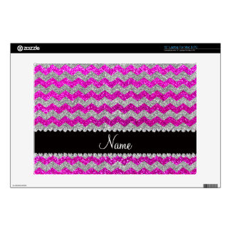 Custom name neon pink silver glitter chevrons decals for laptops