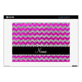 """Custom name neon pink silver glitter chevrons skin for 13"""" laptop"""