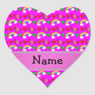 Custom name neon pink watermelons hearts rainbows heart sticker
