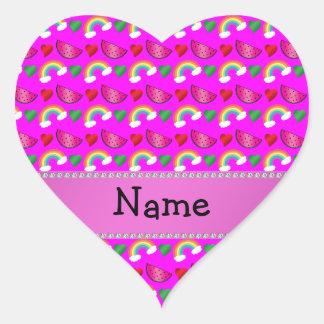 Custom name neon pink watermelons hearts rainbows sticker