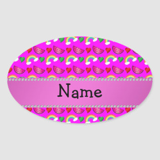 Custom name neon pink watermelons hearts rainbows oval sticker