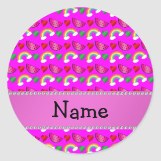 Custom name neon pink watermelons hearts rainbows round stickers
