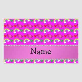 Custom name neon pink watermelons hearts rainbows stickers