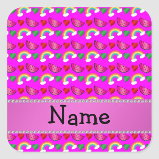 Custom name neon pink watermelons hearts rainbows square sticker