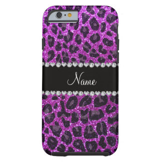Custom name neon purple glitter leopard print tough iPhone 6 case