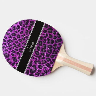 Custom name neon purple glitter leopard print Ping-Pong paddle