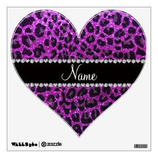 Custom name neon purple glitter leopard print wall skins