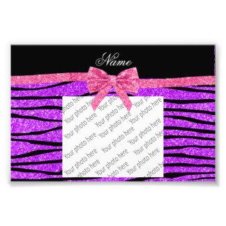 Custom name neon purple glitter zebra stripes bow photo print