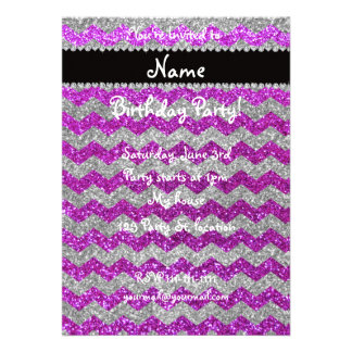 Custom name neon purple silver glitter chevrons custom invite