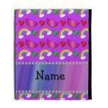 Custom name neon purple watermelons hearts rainbow iPad folio cover