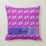 Custom name neon purple watermelons hearts rainbow pillow