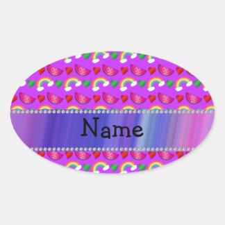 Custom name neon purple watermelons hearts rainbow oval stickers