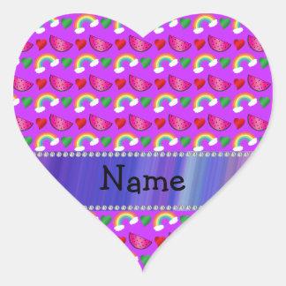 Custom name neon purple watermelons hearts rainbow heart stickers