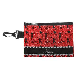 Custom name neon red glitter archery accessory bag