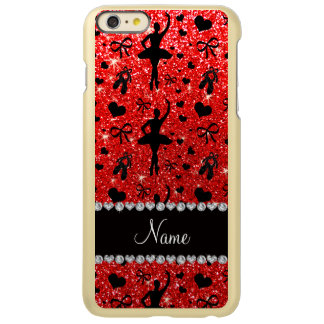 Custom name neon red glitter ballerinas incipio feather® shine iPhone 6 plus case