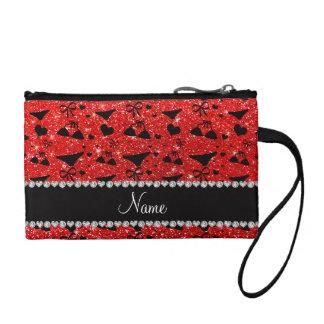 Custom name neon red glitter bikini bows change purses