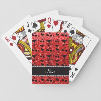 Custom name neon red glitter bikini bows poker deck