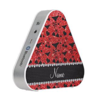 Custom name neon red glitter bikini bows speaker