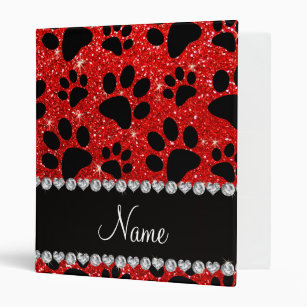 Custom Name Neon Red Glitter Black Dog Paws Ring Binder R Ff E C Aa F B Edf Xz M Byvr on Stay On Dog Diaper Pattern