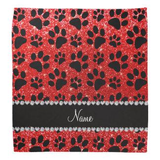 Custom name neon red glitter black dog paws bandana
