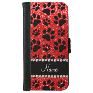 Custom name neon red glitter black dog paws iPhone 6/6s wallet case