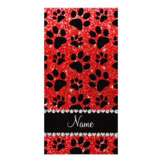 Custom name neon red glitter black dog paws photo cards