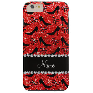 Custom name neon red glitter black high heels bow tough iPhone 6 plus case