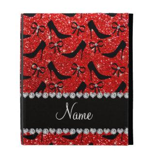 Custom name neon red glitter black high heels bow iPad folio covers