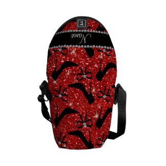 Custom name neon red glitter black high heels bow messenger bag