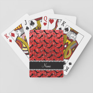 Custom name neon red glitter black high heels bow poker cards