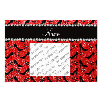 Custom name neon red glitter black high heels bow photographic print