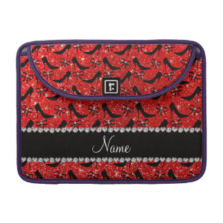 Custom name neon red glitter black high heels bow sleeve for MacBook pro