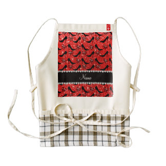 Custom name neon red glitter black high heels bow zazzle HEART apron