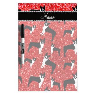 Custom name neon red glitter boston terrier Dry-Erase boards