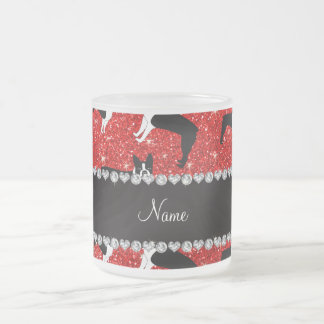 Custom name neon red glitter boston terrier 10 oz frosted glass coffee mug