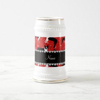 Custom name neon red glitter boston terrier coffee mug
