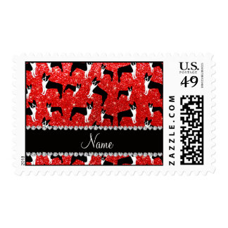 Custom name neon red glitter boston terrier postage stamps