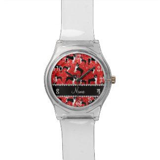 Custom name neon red glitter boston terrier watches