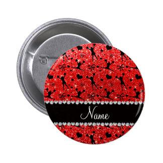 Custom name neon red glitter cheerleading pinback buttons