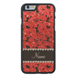 Custom name neon red glitter cheerleading carved® maple iPhone 6 slim case
